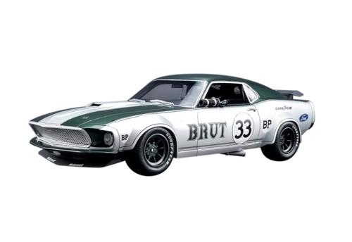 1969 Ford Mustang Boss 302 Trans Am #33 Brut Allan Moffat Silver Green Stripes 1/18 Model Car Real Art Replicas RAR 18002