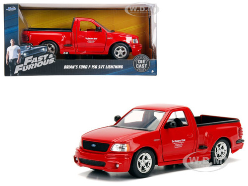 Brian's Ford F-150 SVT Lightning Pickup Truck Red Fast Furious Movie 1/24 Diecast Model Car Jada 99574