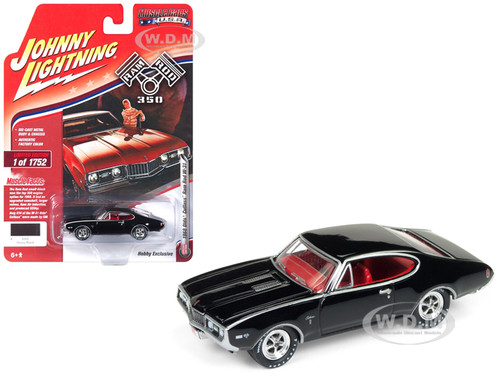1968 Oldsmobile Cutlass W-31 Ram Rod 350 Black Red Interior Limited Edition 1752 pieces Worldwide 1/64 Diecast Model Car Johnny Lightning JLSP034