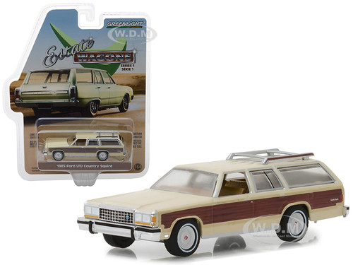 1985 Ford LTD Country Squire Roof Rack Cream Wood Paneling Estate Wagons Series 1 1/64 Diecast Model Car Greenlight 29910 F