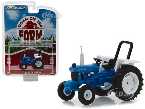 1982 Ford 5610 Tractor Blue White Down on the Farm Series 1 1/64 Diecast Model Greenlight 48010 C