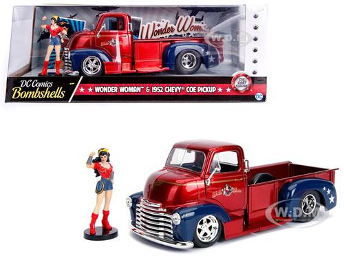 1952 Chevrolet COE Pickup Truck Red Blue Wonder Woman Diecast Figure DC Comics Bombshells Series 1/24 Diecast Model Car Jada 30453