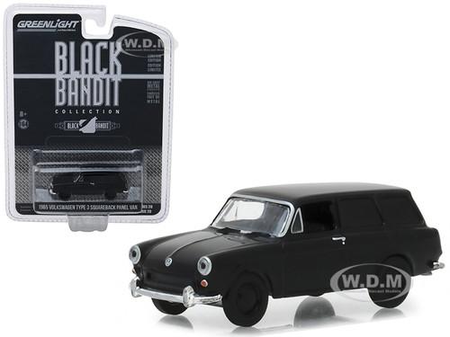 1965 Volkswagen Type 3 Squareback Panel Van Black Bandit Series 20 1/64 Diecast Model Car Greenlight 27960 A