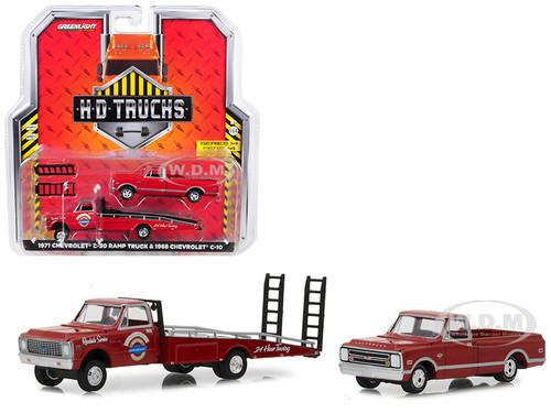 1971 Chevrolet C30 Ramp Truck Chevrolet Super Service 24 Hour Towing Red 1968 Chevrolet C10 Pickup Truck Red HD Trucks Series 14 1/64 Diecast Models Greenlight 33140 A