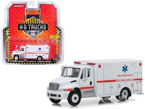International Durastar Ambulance Fire Department Emergency Medical Services ALS Unit White HD Trucks Series 14 1/64 Diecast Model Greenlight 33140 B