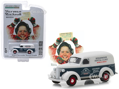1939 Chevrolet Panel Truck Blue White Ridgewood Dental Clinic Mobile Office Norman Rockwell Delivery Vehicles Series 1 1/64 Diecast Model Car Greenlight 37150 A