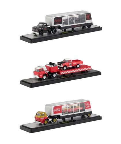 Auto Haulers Race Version Coca Cola Release Set 3 Trucks 1/64 Diecast Models M2 Machines 56000-RC01