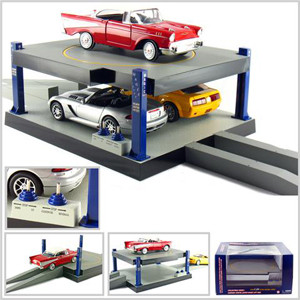 Battery Operated Car Lift For 1/24 Scale Cars Goes Up And Down Rotates Fits 3 Cars SB1004