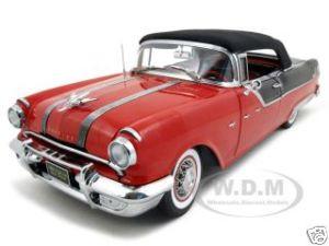 1955 Pontiac Star Chief Closed Convertible Red/Black Platinum Edition 1/18 Diecast Model Car Sunstar 5054