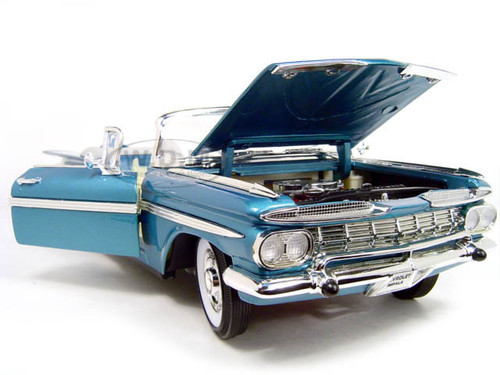 1959 chevrolet impala convertible blue 1 18 diecast model. Black Bedroom Furniture Sets. Home Design Ideas