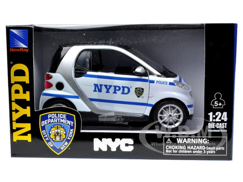 smart for two nypd police car 1 24 diecast model car by new ray 71203 ebay. Black Bedroom Furniture Sets. Home Design Ideas