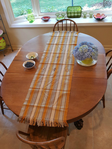 Large Table Runner Golden with Embroidery - T04