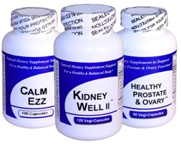 Get Well Natural Herbal Supplements Kidney Well II Calm Ezz Healthy Prostate and Ovary