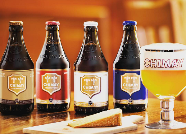 Beers from Chimay Trappist Brewery in Belgium