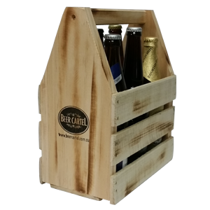 Mixed 6 Pack of Craft Beer with Wooden Beer Caddy