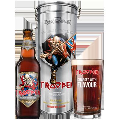 Robinsons Iron Maiden Trooper Gift Tin + Glass