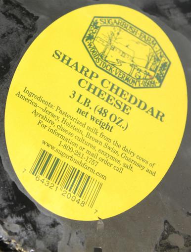 Sharp Cheddar Cheese - Three-Pound Wheel