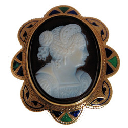 Antique Enamel Cameo Pin/Pendant