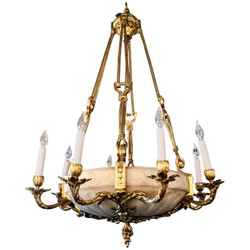 Antique French Bronze D'Ore Alabaster Chandelier, Circa 1880.