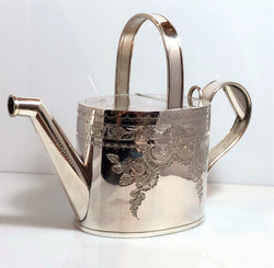 Antique English Sheffield Silver-Plated Watering Can, Hand-Engraved.