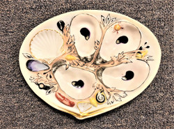 """Antique American Hand-Painted Oyster Plate signed """"Union Porcelain Works,"""" Circa 1880."""
