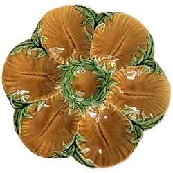 "Antique French Faience Art Nouveau Oyster Plate by ""Luneville,"" Circa 1900."