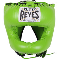 Cleto Reyes Citrus Green Traditional Leather Boxing Headgear with Nylon Face Bar