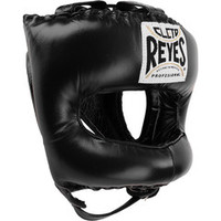 Cleto Reyes Traditional Leather Boxing Headgear with Nylon Face Bar - Black Color