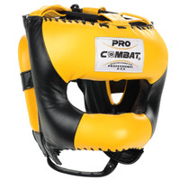 PRO COMBAT Face Saver Leather Boxing Headgear with Nylon Face Bar - Black / Yellow Color