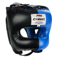 PRO COMBAT Face Saver Leather Boxing Headgear with Nylon Face Bar - Black / Blue Color