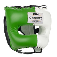 PRO COMBAT Traditional Headgear with Nylon Bar LIMITED EDITION COLOR Green / White