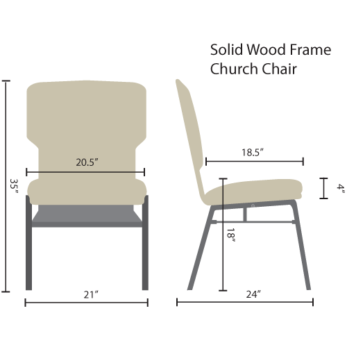 standard wood frame church chairs
