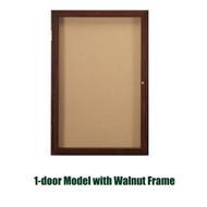 Ghent 36x30-inch Enclosed Cork Bulletin Board - Walnut Frame [PN13630K]