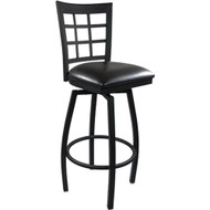 Advantage Window Pane Back Metal Swivel Bar Stool - Black Padded [SBWPB-BFBV]