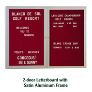 Ghent 36x60-inch Enclosed Burgundy Letter Board - Satin Aluminum Frame [PA23660B-BG]