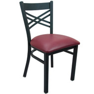 Advantage Black Metal Cross Back Chair - Burgundy Padded [RCXB-BFRV]