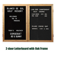 Ghent 36x60-inch Enclosed Black Letter Board - Oak Frame [PW23660B-BK]