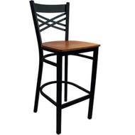 Advantage Cross Back Metal Bar Stool - Cherry Wood Seat [BSXB-BFCW]