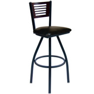 BFM Seating Espy Metal Slotted Wood Back Restaurant Swivel Bar Stools [2151S-SBV]