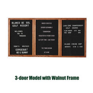 Ghent 36x72-inch Enclosed Black Letter Board - Walnut Frame [PN33672B-BK]