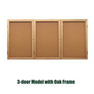 Ghent 36x72-inch Enclosed Cork Bulletin Board - Oak Frame [PW33672K]