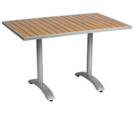 "BFM Seating Longport 32""x48"" Synthetic Teak Restaurant Table Top [PH3248TKU]"