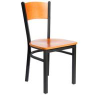 BFM Seating Dale Black Metal Solid Wood Back Restaurant Chair [2150C-SBW]
