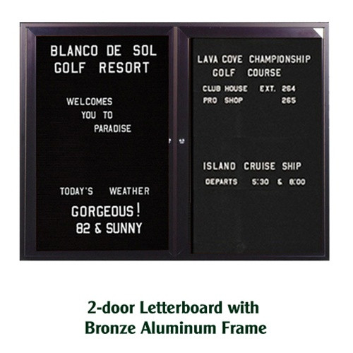 Ghent 36x60-inch Enclosed Black Letterboard [PB23660B-BK] | Bronze ...