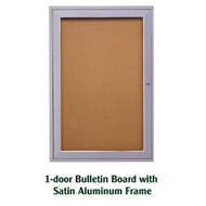 Ghent 24x18-inch Enclosed Cork Bulletin Board - Satin Aluminum Frame [PA12418K]