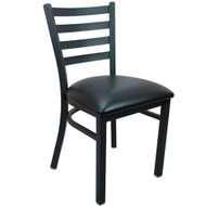 Advantage Black Metal Ladder Back Chair - Black Padded [RCLB-BFBV]