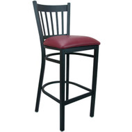 Advantage Vertical Slat Back Metal Bar Stool - Burgundy Padded [BSVB-BFRV]