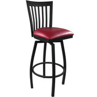 Advantage Vertical Slat Back Metal Swivel Bar Stool - Burgundy Padded [SBVB-BFRV]
