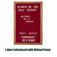 Ghent 36x30-inch Enclosed Burgundy Letter Board - Walnut Frame [PN13630B-BG]
