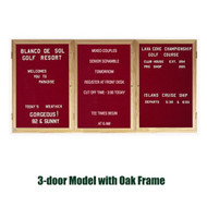 Ghent 36x72-inch Enclosed Burgundy Letter Board - Oak Frame [PW33672B-BG]